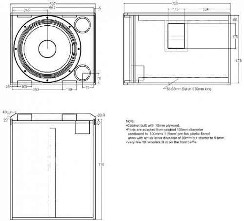Sơ đồ thiết kế SUB JBL 718S