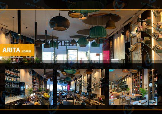 Hình ảnh hoàn thiện hệ thống âm thanh cafe sách Arita