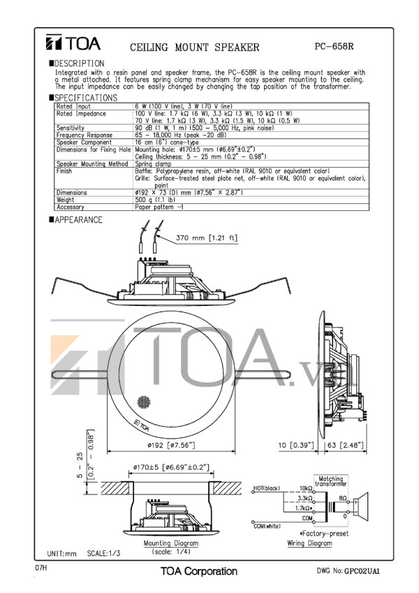 Bản thiết kế Loa âm trần PC 658R
