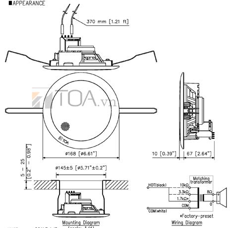 Bản vẽ kỹ thuật loa TOA PC 648R